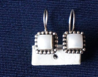 Sterling Silver Earrings with Mother of pearls, Hallmarked INDIA