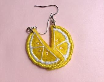 1/2 slice lemon earrings