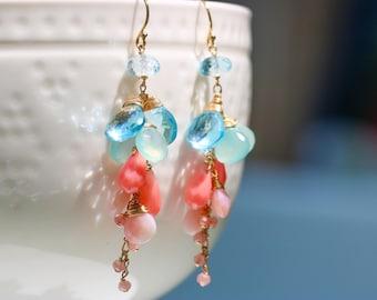 Pink Coral Earrings, Pink Opal Earrings, Blue Topaz Earrings, Gemstone Earrings, Dangle Earrings, Blue Chalcedony Earrings, Cascade Earrings