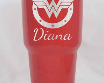 Wonder Woman YETI or RTIC 20 30 oz cup lowball or colsters personalized