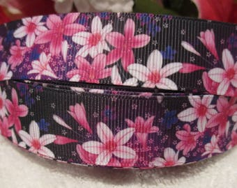 "3 Yards of 7/8"" Pink and Rose Colored Flowers Grosgrain Printed Ribbon"
