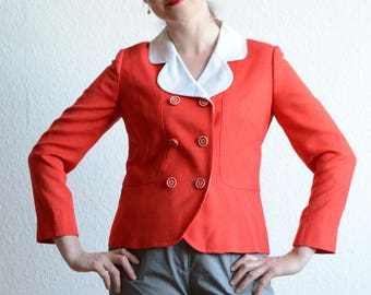 Cute Cherry Red and White 1960s Vintage Linen Jacket