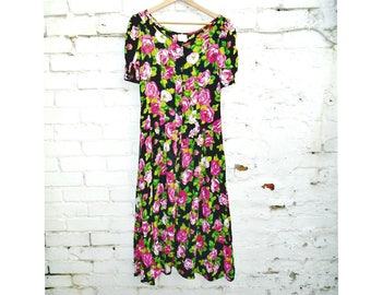 Vintage Dress - Floral Tea Dress - Calf Length Dress - Summer - Festival