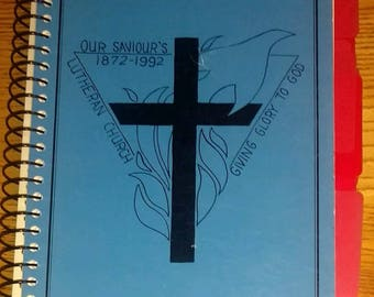 Vintage 1992 Our Saviors Lutheran Church community fundraising cookbook