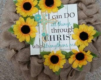 Natural Burlap Sunflower Wreath, Burlap Sunflower Wreath, Sunflower Wreath, Bible Verse Canvas Sign Wreath, Rustic Sunflower Wreath