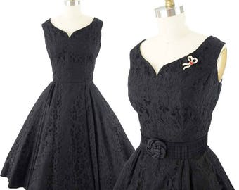 50s Black Lace Party Dress-1950s Swing Dress-Cocktail Party-Holiday-50's Pinup-Bombshell-Tea Length Full Skirt-Nipped Waist-Sleeveless-S-M
