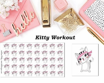 Kitty Workout//Planner Character Stickers//EC//HP