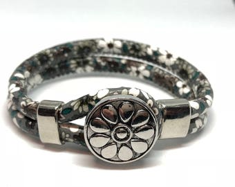 Bracelet Double faux leather gray and green pattern with 1 interchangeable button flowers