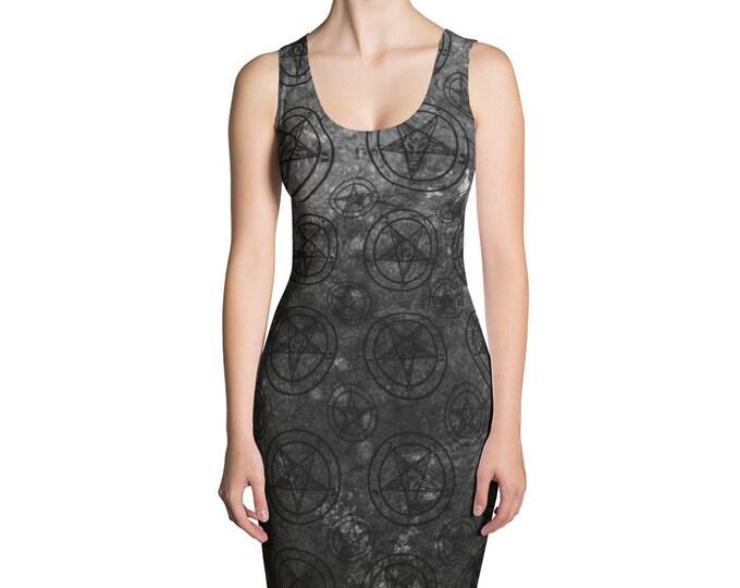 Grey Splatter Baphomet Bodycon Dress