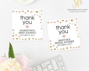 Blush and Gold Hearts, Thank You Tags, Pink Hearts, Gold Hearts, Bridal Favor Tags, Baby Favor Tags, Printable Favor Tags, SH63 SH64 SH65