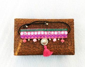 Banjara mirror Cuff - Bracelet Banjara - ethnic cover cuffs for boots - Bohemian Choker necklace - ankle bracelet