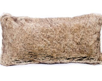 brown and beige sable faux fur pillow decorative pillow throw pillow 12 x24
