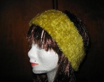Headband, lime green headband hand knitted in wool fur [a] tricoplastoc way