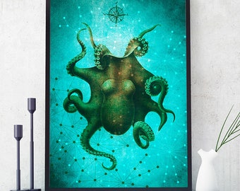 Octopus Print, Marine Wall Art Decor, Octopus Art, Ocean Poster, Octopus Painting, Coastal Decor, Home Decorations, Kids Room (N416)