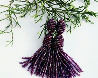 Short beaded earrings Rainbow purple beaded tassel earrings Oscar Fashion earrings Trendy jewelry