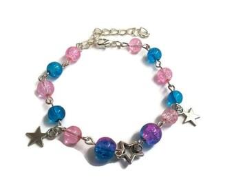 Bracelet pink and blue beads stars