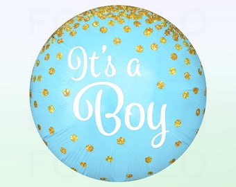 IT'S A BOY Confetti Balloon | Blue and White Balloon Pack | Glitter Confetti Graphic Balloon | Gold Confetti Balloon Decoration