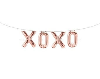 XOXO Rose Gold Letter Balloons | Metallic Letter Balloons | Rose Gold Party Decorations