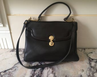 1970s very dark brown leather shoulder bag handbag - Medium Size