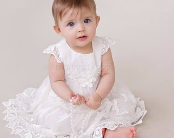 Baby baptism dress, baptism gown, baby christening dress, baptism dress, lace baptism dress, lace baptism gown
