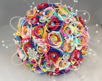 Artificial bride bouquet rainbow flowers foam rose brooch crystal wedding sparkly diamante ribbon glitter loops modern posie rainbow roses
