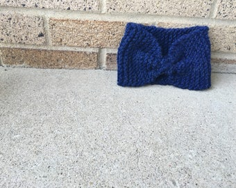 Midnight knit bow headband