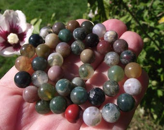 4 8 MM MULTICOLOR INDIA AGATE BEADS.