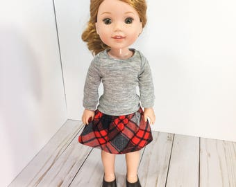 14.5 Inch Doll Clothes- Grey Sweater, Plaid Skirt, and doll shoes fits Dolls Like Wellie Wishers doll clothes
