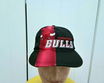 Rare Vintage Sport Specialities CHICAGO BULLS Colour Block Big Logo Cap Hat Free Size Fit All