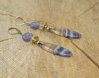 Gemstone fluorite, Czech crystal, antique bronze brass earrings
