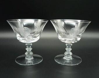 Vintage Fostoria Rose Crystal Stemware Low Sherbet Set of 2, Fostoria Crystal, Etched Crystal Stemware, Vintage Crystal, Fostoria Glass