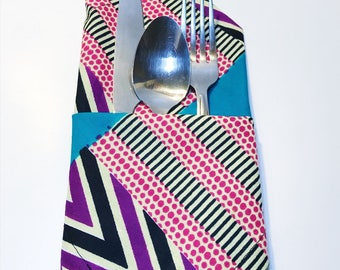 African Print Cloth Napkins // Set of 4 Table Napkins // Cotton Dinner Napkin Set