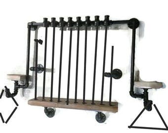 Pipe Pool Cue Rack / Holder, Man's Cave Pool Stick Organizer INDUSTRIAL
