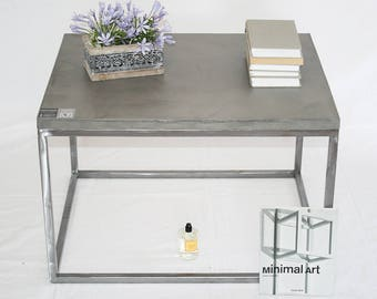 Coffee table natural plaster (cement-like)