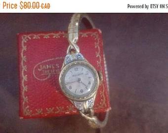 ON SALE Vintage Ladies Bulova Goldfilled and Diamond Watch