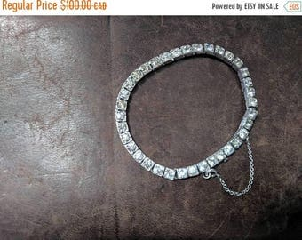 ON SALE Vintage Sterling Silver and Clear Glass Bracelet