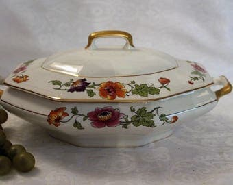 Beautiful American Limoges 22K Gold Warranted Covered Serving Dish adorned with Bright Florals