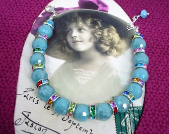 Soft Blue Crystal beaded bracelet