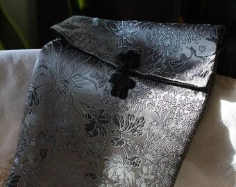 Dove Grey and Black Satin Brocade Chinese Envelope Shoulder Bag/Purse 1980s