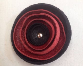black and red leather flower brooch