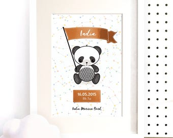 Nursery Print, Personalised Gift, Baby Foil Wall Art, Birth Announcement, Nursery Decor, Baby Gift, Baby Name Art Print, Cute Panda Art