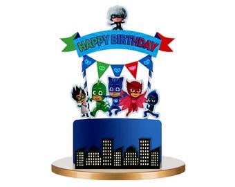 PJ Masks Cake Topper, Pj Masks Birthday, Pj Masks Party, Pj Masks Decorations