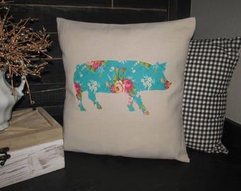 Floral Pig Pillow Cover~18X18~Home Decor Pillow~Canvas~Handmade~Farmhouse
