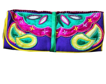 Indian Gift Handbag Wedding Purse Women Evening Pouch Bag Traditional Jewelry Storage Clutch Bag Embroidered Fabric Roll Bag Bridal Gift Bag