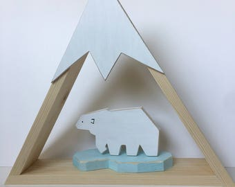 Triangle snow capped mountain  shelf with polar bear on ice, polar bear and mountain decor, home decor, nursery  decor, kids room decor