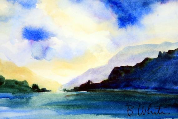 Columbia Gorge original #6 - original watercolor painting - Bonnie White - watercolor - Columbia Gorge artist - made in the gorge