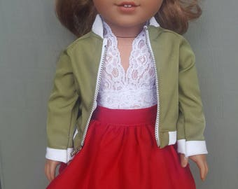 American girl doll gathered red skirt