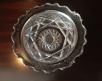 Victorian American Brilliant Cut Glass Bowl with Reticulated Gorham Sterling Silver Rim Circa 1898
