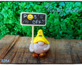 """Adults Only!! Miniature """" PISS OFF """" gnome! Handmade and one of a kind. Item # S354"""