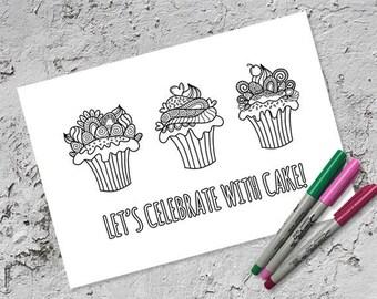 Celebrate with Cake Colouring Page | Instant Digital Download | Original Doodle Design